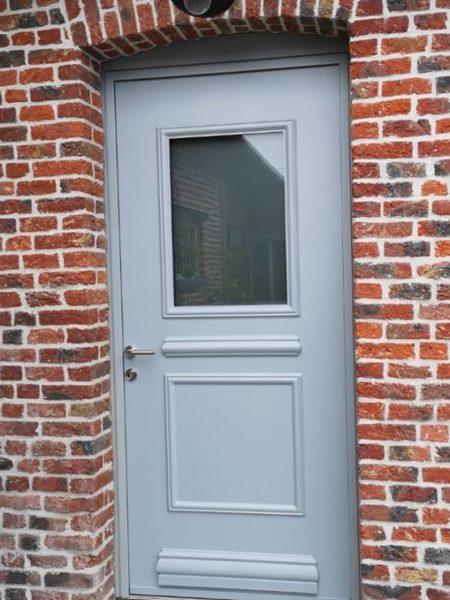 """Porte d'entrée modèle """"Rectangle"""" coloris gris galet texturé (ral 9006T)"""